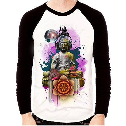 Mens-Buddha-Dj-Baseball-Graphic-Basic-Long-Sleeve-Raglan-T-shirts-Tee