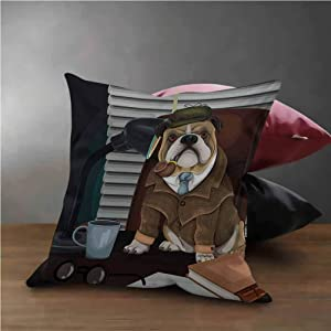 "English Bulldog Throw Pillow Cases Decorative Traditional English Detective Dog with a Pipe and Hat Sherlock Holmes Image Used for Sofa,Office,Bedding,Car and Couch Multicolor (24""x24"")"