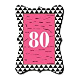 Big Dot of Happiness Chic 80th Birthday - Pink, Black and Gold - Unique Alternative Guest Book - Birthday Party Signature Mat