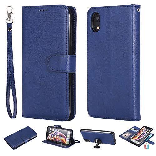 Ostop Wallet Case for iPhone Xr,Blue PU Slim Leather Detachable Case with Card Holder,Wrist Strap,Magnetic Car Mount,Kickstand Shockproof Flip Cover for iPhone Xr 6.1