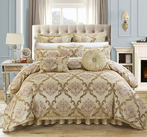 Chic Home 9 Piece Aubrey Decorator Upholstery Quality Jacquard Scroll Fabric Bedroom Comforter Set & Pillows Ensemble, Queen, Beige -