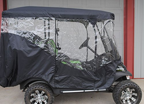 Rain Cover Enclosure for LIFTED CARTS Golf Cart 4 Four passenger with Extended Roof and Back Seat Black EZGO Clubcar Yamaha by Rugged Covers