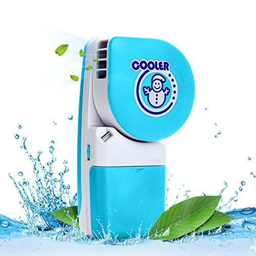 Air Over Fan (LUCKSTAR Handheld Cooler Fan - Small Fan Mini-Air Conditioner Speed Adjustable Summer Cooler Fan With Water Bottle Powered by Batteries or USB Cable for Home / Office / Travel / Outdoor (Blue))