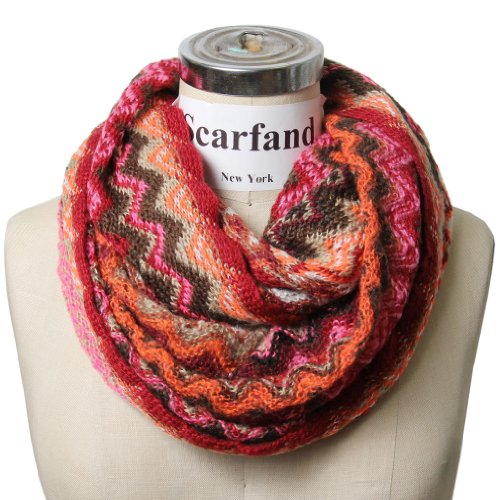 Scarfand's Multicolored Chevron Zig Zag Infinity Scarf (Knit Pink)