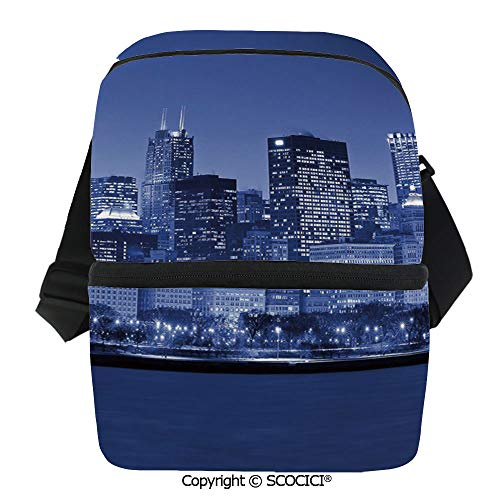 SCOCICI Collapsible Cooler Bag Chigago City Skyline at Night with Tall Buildings Urban Modern Life America Town Scene Insulated Soft Lunch Leakproof Cooler Bag for Camping,Picnic,BBQ