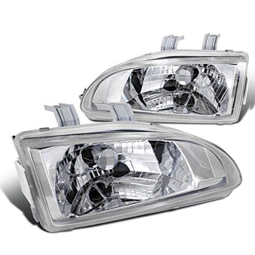 2-APC Honda Civic Ex Dx Lx Chrome Clear Headlights (92 Honda Civic Lx)