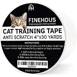 """Finehous Cat Anti-Scratch Tape Deterrent 4"""" x 30-Yards - Furniture Protector"""