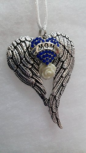 - Mom Memorial Angel Wings w/Blue Crystal Heart Ornament In Memory Bereavement Keepsake Gift