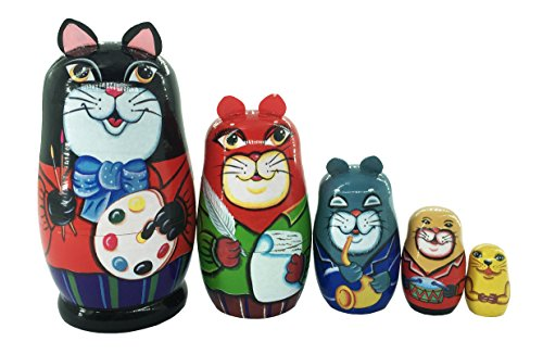 Nesting Dolls Cat - Lemon Breeze 5 Pieces Black Cat Russian Nesting Dolls Matryoshka Stacking Dolls Set Wooded Handmade for Kids Toys Cat Person Birthday Home Decoration
