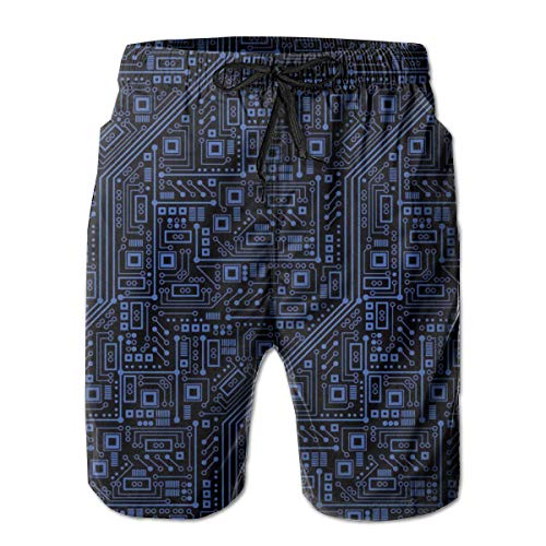 (Life Pstore Men's Quick Dry 3D Printed Beach Board Shorts - Casual Hawaiian Swimwear Trunks for Beach Holiday Party - Circuit Board Digital Print Swim Pants with Mesh Lining)
