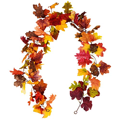 (Sunm boutique 2 Pcs Artificial Maple Leaf Garland Hanging Fall Leave Vines Hanging Plants for Indoor Outdoor Autumn Wedding Door Fireplace Thanksgiving Festival Dinner Party)