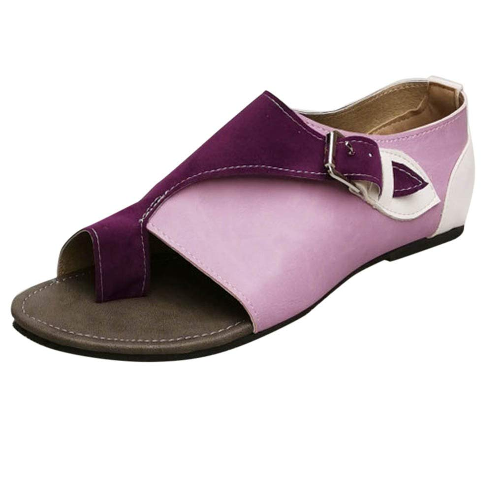 Women Roman Sandals,FAPIZI Fashion Flip-Flop Style Soft Comfortable Leisure Flat Sandal Buckle Strap Shoes Purple