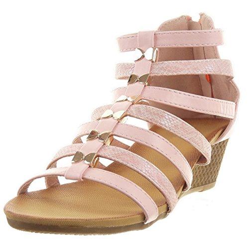 Sopily - damen Mode Schuhe Sandalen Römersandalen glänzende Schlangenhaut Multi-Zaum - Rosa