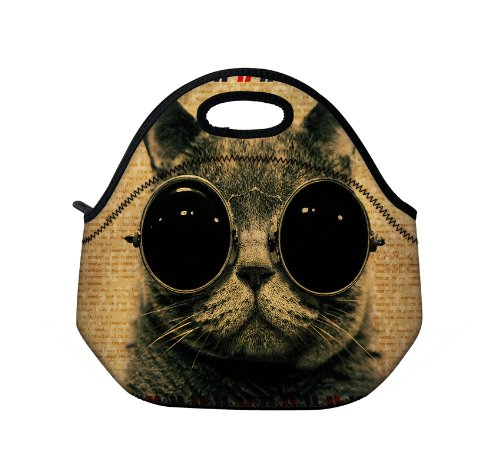 New Fashion Travel Outdoor Cooler Thermal Waterproof Lunch Bag Picnic Tote Box Container Insulated Zip Out Removable School Carry Handle Tote Lunch bag - Cat Wearing Sunglasses ()