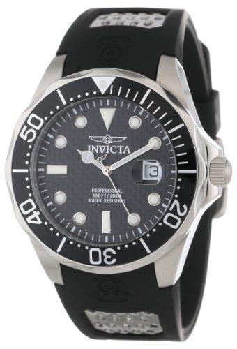 Invicta Men's 12558 Pro Diver Black Carbon Fiber Dial Black Polyurethane Watch (Watch Carbon Dial)