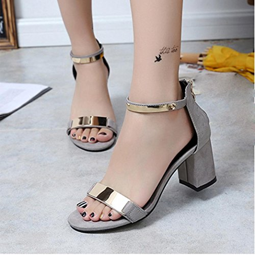 HOT Sale ,AIMTOPPY Summer Sandals Women Summer Sandals Open Toe Women Sandles Thick Heel Shoes Gladiator Shoes (US:7.5, Black) Gray