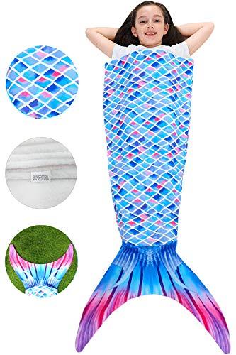 Camlinbo Mermaid Blanket for Kid's Fleece Wearable Blankets