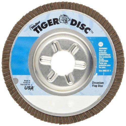 """UPC 012382505240, Weiler Tiger Abrasive Flap Disc, Type 29, Round Hole, Aluminum Backing, Zirconia Alumina, 5"""" Dia., 60 Grit (Pack of 1)"""