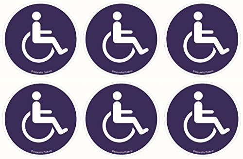 6 Pack of 4 Inch Diameter Premium Quality Disabled/Wheelchair Symbol ADA Compliant Handicap Access 3M Vinyl Screen Printed Sticker Decals, Adhesive on Back of Decal