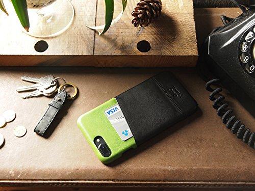 alto Handmade Premium Italian Leather Wallet Case for Apple iPhone 8 Plus / iPhone 7 Plus Metro (Lemon/Raven) by Alto (Image #5)