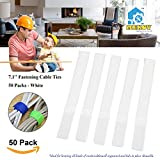Fastening Cable Straps, Mekov, 7.1 Inch Reusable Fastening Cable Ties Cord Wire Organizer for Home Office Tablet PC TV Wire Management (50 Pack, White)