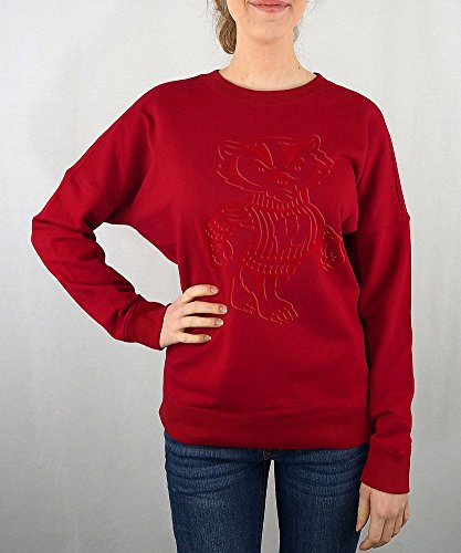 Elite Fan Shop Wisconsin Badgers Women's Crewneck Sweatshirt Captain Red - ()