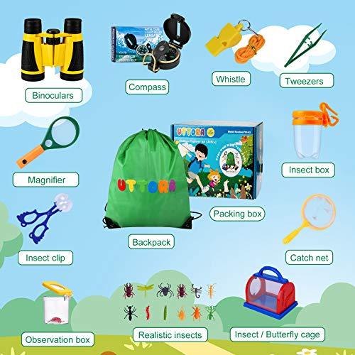UTTORA Binoculars for Kids 27 Pcs Outdoor Explorer Toys Spy Kit with Magnifying Glass Bug Catcher Butterfly Net Compass for 8+ Old Boys Girls, Kids Telescope Educational Kit Children Garden Toys