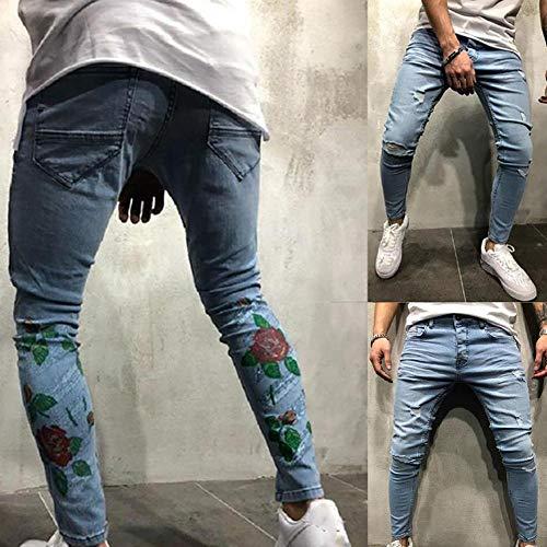 Purebesi Per Da In Jeans 3xl Slim Buco Puro Pantaloni Skinny Uomo Stampato Fit arwnq5aPRf
