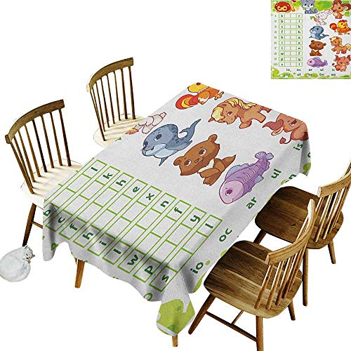 kangkaishi Waterproof Anti-Wrinkle no Pollution Long Tablecloth Rebus Game with Animals for Preschool Kids Find Correct Part of Words W70 x L120 Inch Multicolor -