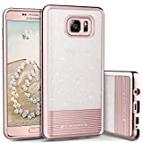 Note 5 Case, Galaxy Note 5 Phone Case, BENTOBEN Samsung Note 5 Case Slim Fit with Rose Gold Stripes Design Bling Glitter Hybrid TPU Bumper Hard PC Back Cover Drop Protection Shockproof Protective Phone Case for Girls Women for Samsung Galaxy Note 5, Rose Gold