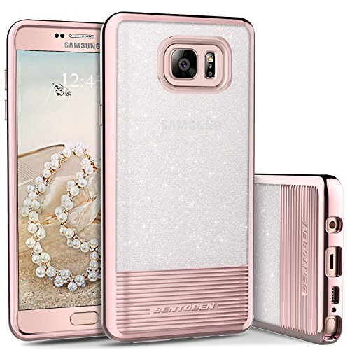 Galaxy Note 5 Case, Galaxy Note 5 Phone Case, BENTOBEN Bling Glitter Chrome Stripes Design Hybrid TPU PC Dual Layer Shockproof Slim Protective Phone Cases Cover for Samsung Galaxy Note 5, Rose Gold