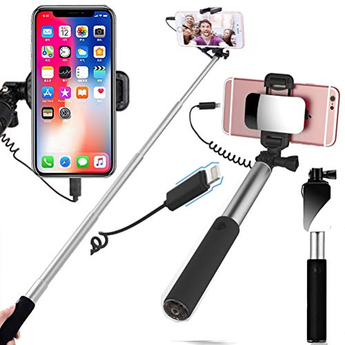 YooGoal Compatible with Cell Phone Selfie Stick with Mirror Wire Control Connector (No Bluetooth) for iPhone Xs MAX XS X XR 8 8Plus 7 7Plus 6 6S Plus SE (Silver)