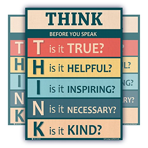 Think Before You Speak Laminated Motivational Chart Rainbow Colors classrooms and Educators Poster 15x20