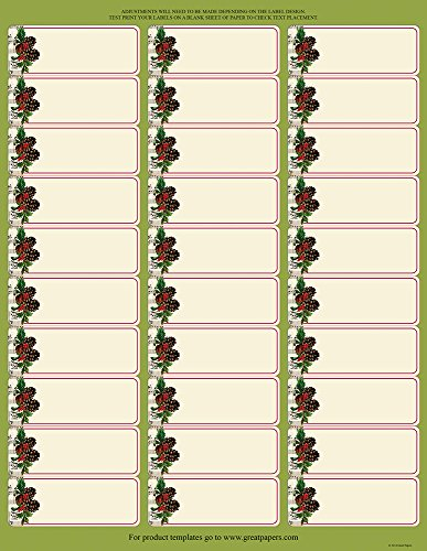 "Great Papers! Pinecone Garland 30-Up Address Label, 5 sheets/150 labels, 1""x2.625"" (2014068)"