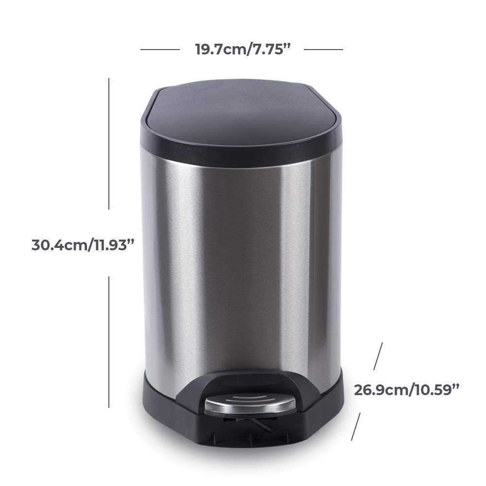 Amazon.com: aicool - Papelera de acero inoxidable, 5 litros ...