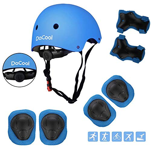 DaCool Kids Protective Gear Set Helmet Knee Pads Elbow Pads and Wrist Guards 7 in 1 Set with Adjustable Strap for 3~8yrs Toddler Children Rollerblading Skating Skateboard Cycling Outdoor Sports, Blue