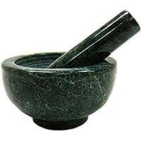 GUNEE Green Rajasthan Marble Imam Dasta, Mortar and Pestle Set, Ohkli Musal, Kharal