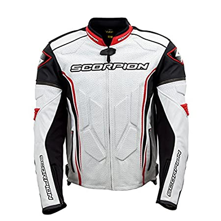 White//Red//Large 12059-5 Scorpion Clutch Mens Leather Street Motorcycle Jacket