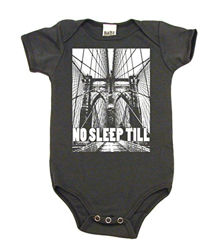 Artist Baby Onesie - No Sleep Till Brooklyn Baby Bodysuit, 6-12 mo, Organic Asphalt