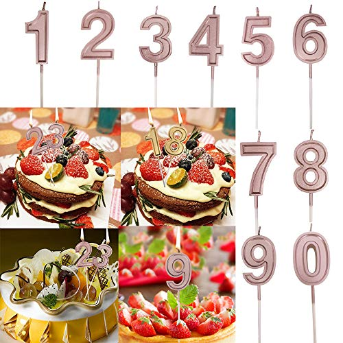 Euone  Numeral Candles, 10pcs Rose Gold Number 0-9 Candles B