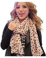 Fashion Ladies Scarf Shawls Cat Print Scraves 100% Chiffon Wrap - Apricot