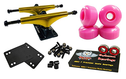 Owlsome 5.25 Metallic Gold/Black Aluminum Skateboard Trucks w/52mm Wheels Combo Set (Pink)