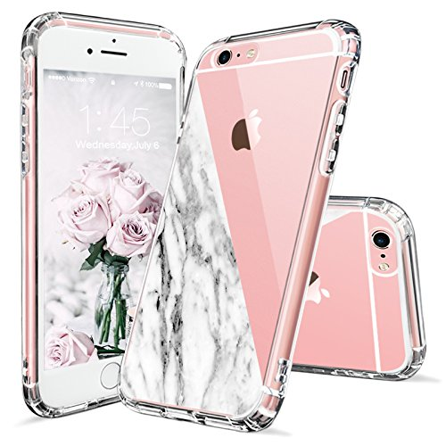 iPhone 6s Case, iPhone 6 Case Clear, MOSNOVO Half White Marble Clear Design Printed Transparent Plastic Hard Back Case with Soft TPU Bumper Protective Phone Case Cover for Apple iPhone - Half Marble