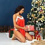 Litetao Women Christmas Lingerie Lace Babydoll Sexy Chemise V Neck Split Nightdress with Thong Underwear Set