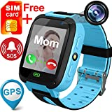 TURNMEON Kids Smart Watches with Free SIM Card- 1.44' GPS Tracker Wrist Smart Watch Phone for Boys Girls with Camera Pedometer Smartwatch Bracelet for Birthday Halloween (Blue)