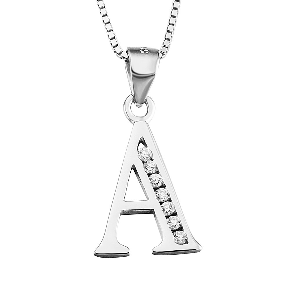 YFN S925 Sterling Silver 26 Letters Alphabet A with Cubic Zirconia Pendant Necklace (Alphabet A)