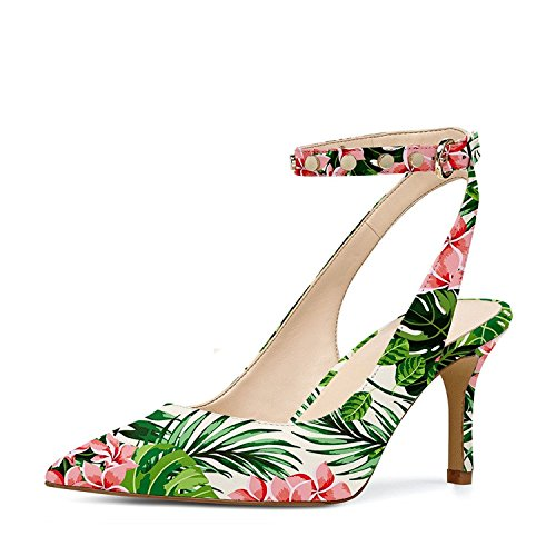YDN Women Low Heel Slingback Pumps With Ankle Strap Pointy Toe Dressy Studded Shoes Rain Forest (Forest Green Heels)