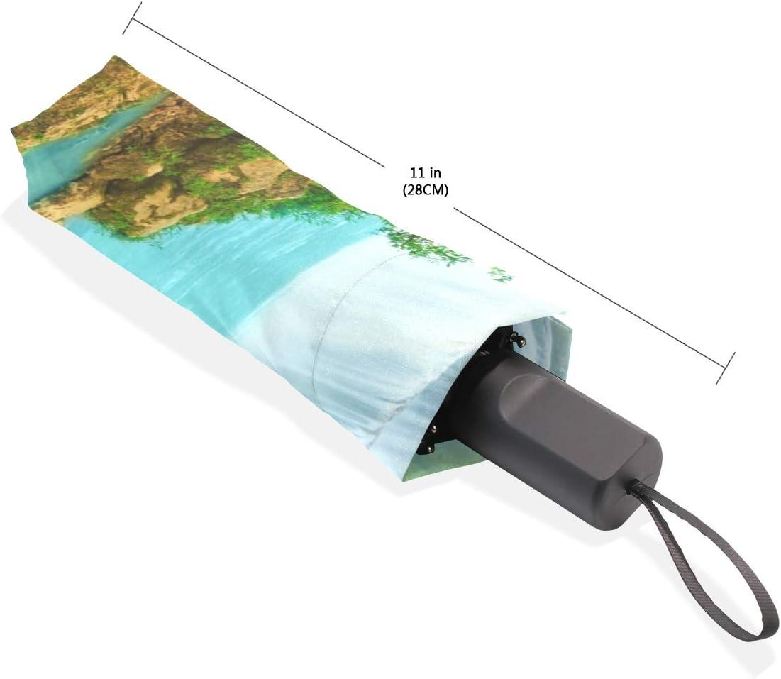 Compact Easy Carry Waterfall Beautiful World Windproof Umbrella Sun Block Parasol Portable
