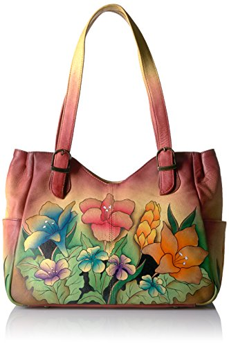 Anna By Anuschka Handpainted Medium Shoulder Bag Mediterranean Garden, Mgr-Mediterranean (Anuschka Purse)