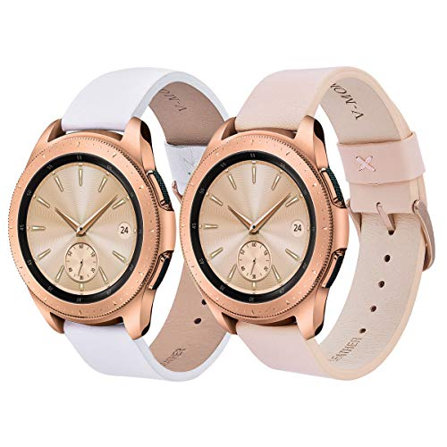 V-MORO Leather Strap Compatible with Galaxy Watch 42mm Bands 2 Peck Softer Replacement for Samsung Galaxy Watch 42mm SM-R810/Galaxy Watch Active 40mm R500(Pink+White)